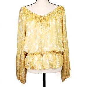 Michael Kors yellow marble print peasant blouse L